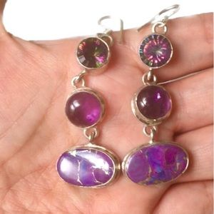 New Amethyst and Purple Mystic Topaz earrings